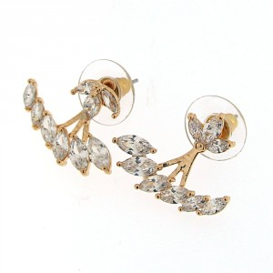 Fancy Jeweled Yellow Gold Plated Ear Stud