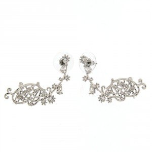 Fancy Silver Platted Butterfly Cuff with Micro Setting Stone Ear Stud