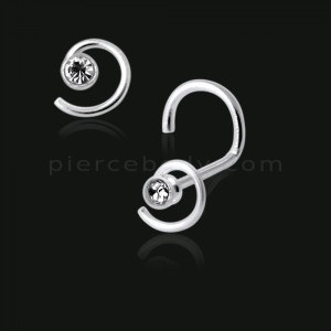 925 Silver Jeweled Coil Nose Screw