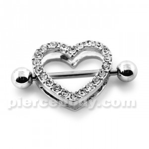 Multi Jeweled Heart Surgical Steel Nipple Piercing