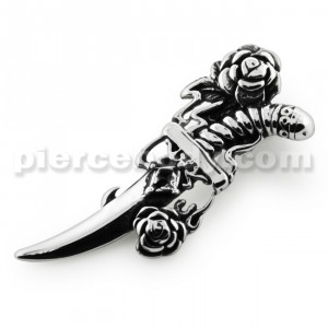 Knife with Rose Stainless Steel Casting Pendant