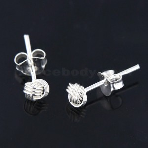925 Sterling Silver Tri Knot Ear Stud