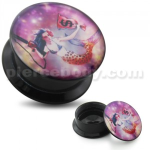 Mermaid with Gun UV Internal Screw Fit Ear Tunnel