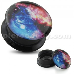 Galaxy Owl UV Internal Screw Fit Ear Tunnel