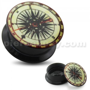 Navigation Compass UV Internal Screw Fit Ear Tunnel