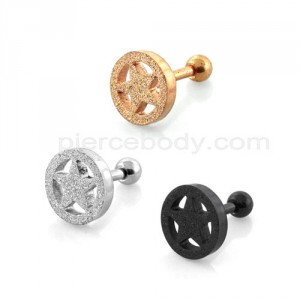 PVD Plated Glittering Star Tragus Piercings