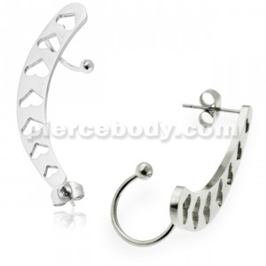 Hollow Hearts Ear Cuff Piercing Wrap Cartilage Clip