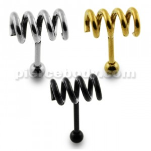 Spring Coil Tragus Bar Helix Cartilage Upper Ear Piercing Plug