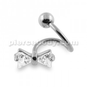Crystal Tie Bow Twisted Barbell
