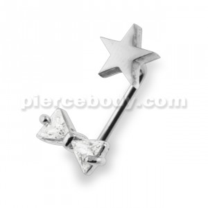 Crystal Tie Bow with Star Surface Piercing