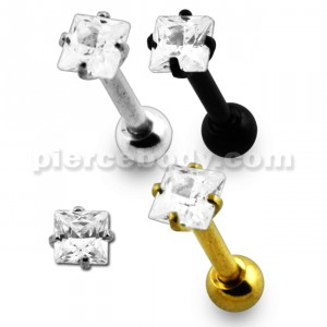 316L Tragus Bar with Clear Square Gem Top