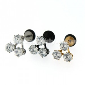 Tri Jeweled Invisible Fake Ear Plug