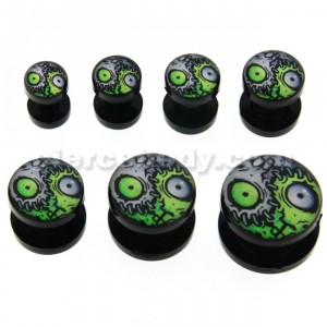 Zombie Eyes Logo UV External Screw Fit Ear Flesh Tunnel Gauges