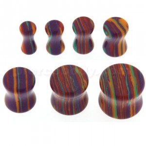 Colorful Multiple Stripes on Stone Saddle Ear plug Gauges