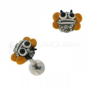 Multi Jeweled Bee Face Cartilage Tragus Piercing Ear Stud