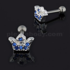 Jeweled Crown 925 Sterling Silver Cartilage Tragus Piercing