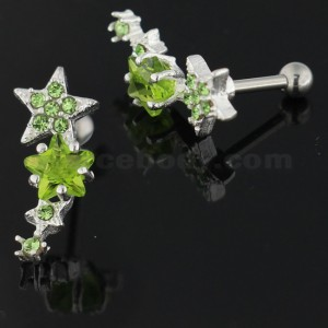 Multiple Sparkling Stars 925 Sterling Silver Cartilage Tragus Piercing