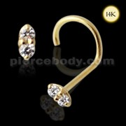 14K Gold Round CZ Machine Cut