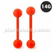 Neon Orange 316L Surgical steel Straight Barbells