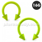 Neon Yellow 316L Surgical Steel Circular Barbell with Cone