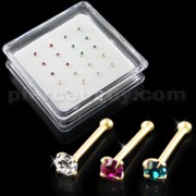 Clear,Fushia and Blue Zircon 14K Gold Ball End Nose Pins in Mini Box