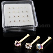 Clear,Amethyst and AB Color 14K Gold Ball End Nose Pins in Mini Box