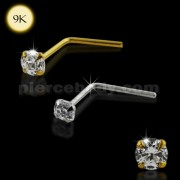 9K Solid Gold L-Shaped Jeweled Nose Stud