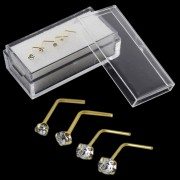 9K Solid Yellow  Gold L-Shaped Genuine Crystal Nose Stud in Box
