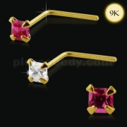 9K Gold L-Shaped Square Stone Nose Stud
