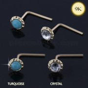 9K yellow Gold Jeweled L-Shape Nose Stud