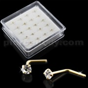 9K Gold L-Shape Round Crystals Nose Pins in Mini Box