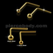 9K Solid Gold L-Shape Top Ball Nose studs in Mini Box