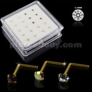 Clear,Amethyst and AB Color 9K Gold L-Shape Nose Pins in Mini Box