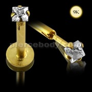 9K Gold Internal Lip Labret with Square Jeweled Top