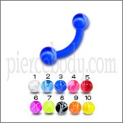 Blue UV Eyebrow Banana Ring with UV Balls