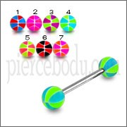 SS Tongue Barbell with Green UV Beach Color Balls Body Jewelry