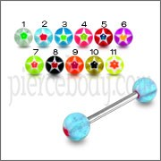 SS Tongue Barbell with Multi Color UV Star Print Balls