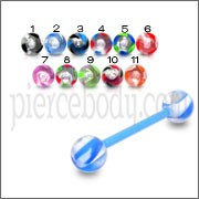 UV Tongue Ring Barbell with Solid Colored UV Ball