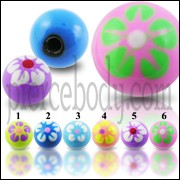 Colorful Mix Flower Hand Painted UV Acrylic Balls