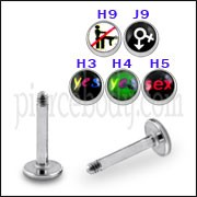 SS Labret with 4mm Mix Logo Ball