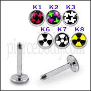 SS Labret with 4mm Football Logo Ball