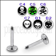 SS Labret with 4mm Skull Logo Ball