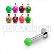 SS Labret With Green Mix Color UV Fancy Ball Body Piercing Jewelry