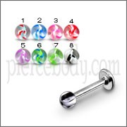 Surgical Steel Straight Barbell with UV Fancy Ball Eyebrow Tongue Rings