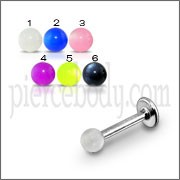 SS Eyebrow Tongue Labret With UV Acrylic Fancy Balls