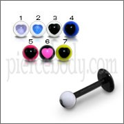 UV Labret With UV Acrlic Fancy Heart Print Balls