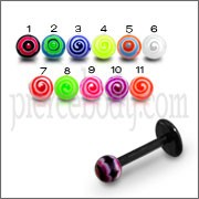 UV Labret With UV Acrylic Spiral Fancy Body Piercing Balls