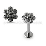 Micro Setting Jeweled Flower Madonna Labret