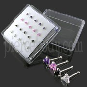 925 Silver CZ Jeweled Nose Stud