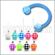 Sky Blue UV Horseshoe Ring Eyebrow Bar Tragus Circular Barbell